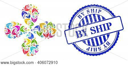 Sail Boat Bright Centrifugal Flower Cluster, And Blue Round By Ship Textured Stamp Imitation. Elemen