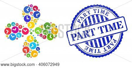 Time Multicolored Exploding Flower With Four Petals, And Blue Round Part Time Rubber Print. Element