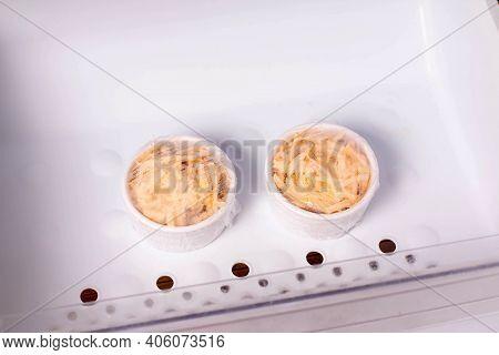 Frozen Food In The Freezer. Frozen Casserole, Julienne. Mushroom, Chicken And Cheese Gratin In Bowls