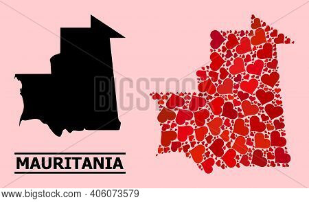 Love Pattern And Solid Map Of Mauritania On A Pink Background. Collage Map Of Mauritania Created Wit