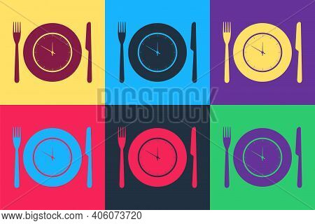 Pop Art Plate With Clock, Fork And Knife Icon Isolated On Color Background. Lunch Time. Eating, Nutr