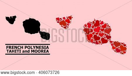 Love Mosaic And Solid Map Of Tahiti And Moorea Islands On A Pink Background. Mosaic Map Of Tahiti An