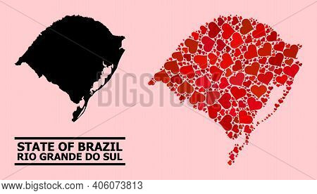 Love Mosaic And Solid Map Of Rio Grande Do Sul State On A Pink Background. Mosaic Map Of Rio Grande