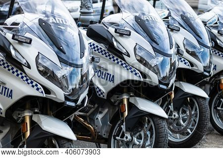 Romanian Police (politia Rutiera) Motorbikes Parked In Front Of The Home Office (ministry Of The Int