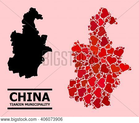 Love Collage And Solid Map Of Tianjin Municipality On A Pink Background. Collage Map Of Tianjin Muni