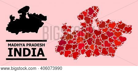 Love Collage And Solid Map Of Madhya Pradesh State On A Pink Background. Collage Map Of Madhya Prade