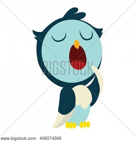 Cute funny sleepy owl with eyes closed. Forest bird. Decorative and style toy, doll. Happy and joyful bird in flat style. Isolated children cartoon illustration, for print or sticker