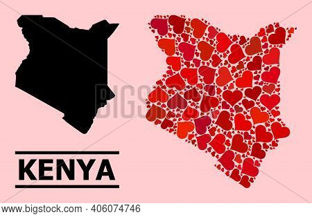 Love Mosaic And Solid Map Of Kenya On A Pink Background. Mosaic Map Of Kenya Formed With Red Lovely
