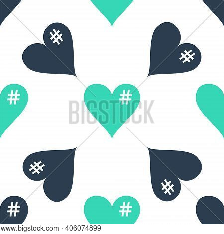 Green The Hash Love Icon. Hashtag Heart Symbol Icon Isolated Seamless Pattern On White Background. V
