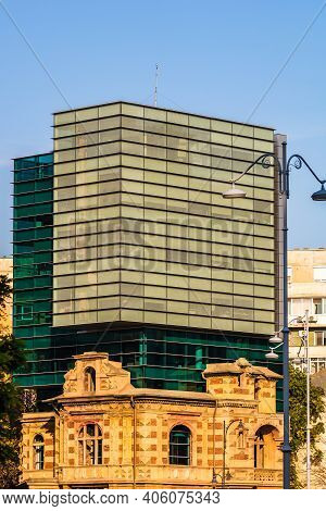 Detail View Of The Modern Building Of The Union Of Romanian Architects In Downtown Bucharest, Romani