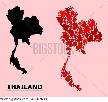 Love Collage And Solid Map Of Thailand On A Pink Background. Collage Map Of Thailand Designed With R