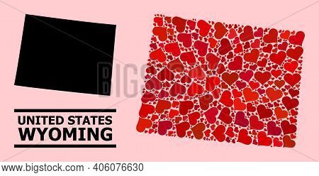 Love Collage And Solid Map Of Wyoming State On A Pink Background. Collage Map Of Wyoming State Is Cr