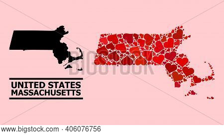 Love Mosaic And Solid Map Of Massachusetts State On A Pink Background. Mosaic Map Of Massachusetts S
