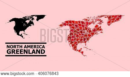 Love Collage And Solid Map Of North America And Greenland On A Pink Background. Collage Map Of North