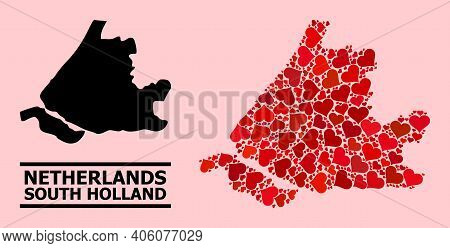 Love Collage And Solid Map Of South Holland On A Pink Background. Mosaic Map Of South Holland Is Com