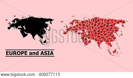 Love Collage And Solid Map Of Europe And Asia On A Pink Background. Collage Map Of Europe And Asia C