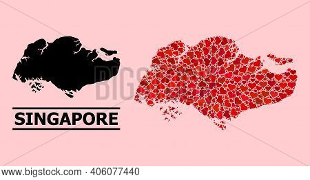 Love Collage And Solid Map Of Singapore On A Pink Background. Collage Map Of Singapore Composed From