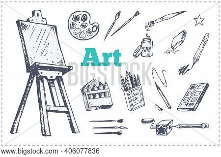 Drawing And Painting Supplies, Vector Icons Set. Hand Drawn Sketch Of Artist Tools - Paint Brushes,