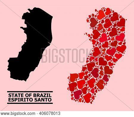 Love Mosaic And Solid Map Of Espirito Santo State On A Pink Background. Mosaic Map Of Espirito Santo