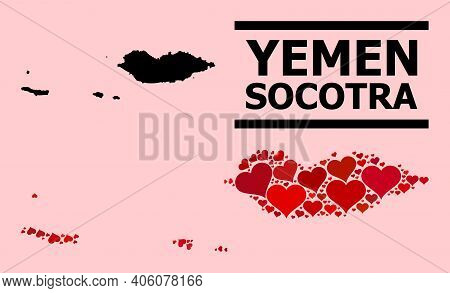 Love Collage And Solid Map Of Socotra Archipelago On A Pink Background. Collage Map Of Socotra Archi