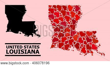 Love Collage And Solid Map Of Louisiana State On A Pink Background. Collage Map Of Louisiana State C