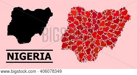 Love Mosaic And Solid Map Of Nigeria On A Pink Background. Mosaic Map Of Nigeria Is Designed With Re