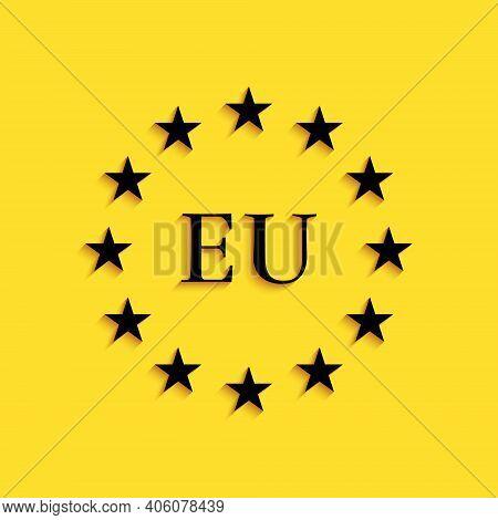 Black Flag Of European Union Icon Isolated On Yellow Background. Eu Circle Symbol. Waving Eu Flag. L