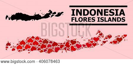 Love Mosaic And Solid Map Of Indonesia - Flores Islands On A Pink Background. Mosaic Map Of Indonesi