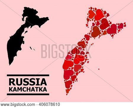 Love Mosaic And Solid Map Of Kamchatka Peninsula On A Pink Background. Mosaic Map Of Kamchatka Penin