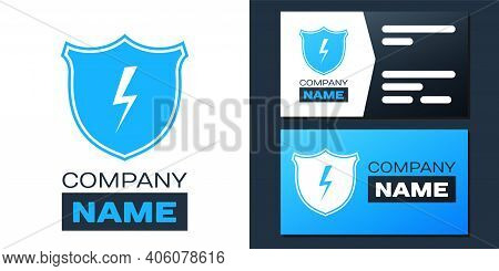 Logotype Secure Shield With Lightning Icon Isolated On White Background. Security, Safety, Protectio