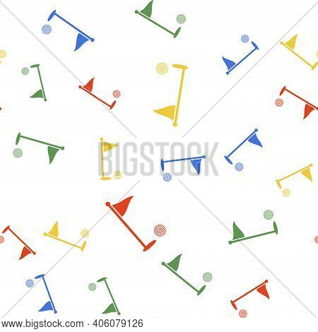 Color Golf Ball And Hole With Flag Icon Isolated Seamless Pattern On White Background. Golf Course.