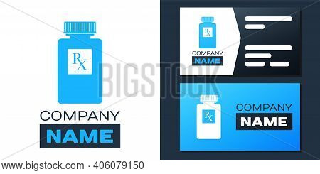 Logotype Pill Bottle With Rx Sign And Pills Icon Isolated On White Background. Pharmacy Design. Rx A