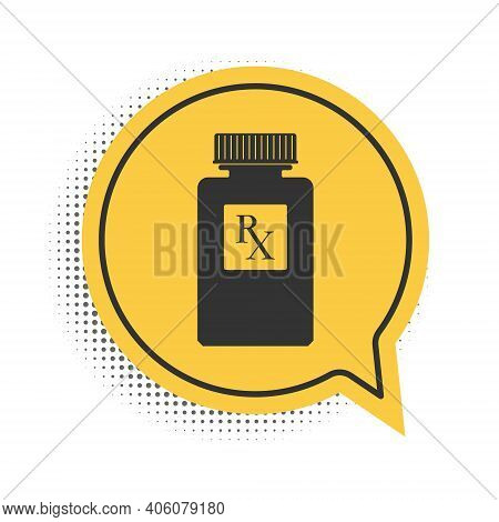 Black Pill Bottle With Rx Sign And Pills Icon Isolated On White Background. Pharmacy Design. Rx As A