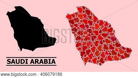 Love Mosaic And Solid Map Of Saudi Arabia On A Pink Background. Mosaic Map Of Saudi Arabia Is Design