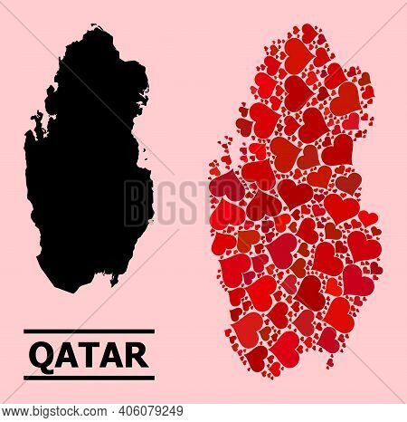 Love Pattern And Solid Map Of Qatar On A Pink Background. Collage Map Of Qatar Composed From Red Lov