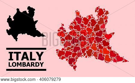 Love Mosaic And Solid Map Of Lombardy Region On A Pink Background. Mosaic Map Of Lombardy Region Is