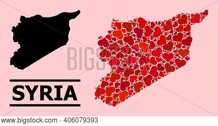 Love Collage And Solid Map Of Syria On A Pink Background. Mosaic Map Of Syria Is Designed With Red L