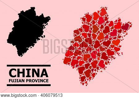 Love Pattern And Solid Map Of Fujian Province On A Pink Background. Collage Map Of Fujian Province I