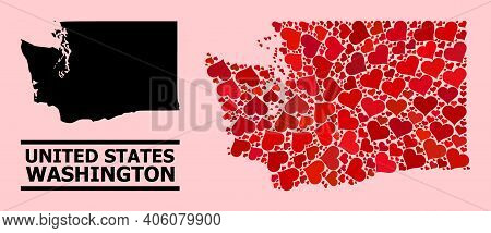 Love Mosaic And Solid Map Of Washington State On A Pink Background. Mosaic Map Of Washington State C