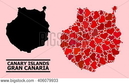 Love Pattern And Solid Map Of Gran Canaria On A Pink Background. Mosaic Map Of Gran Canaria Is Creat