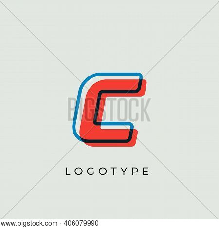 Stunning Letter C With 3d Color Contour, Minimalist Letter Graphic For Modern Comic Book Logo, Carto