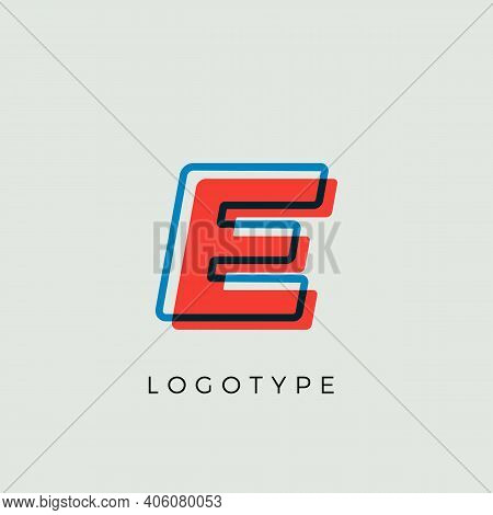 Stunning Letter E With 3d Color Contour, Minimalist Letter Graphic For Modern Comic Book Logo, Carto