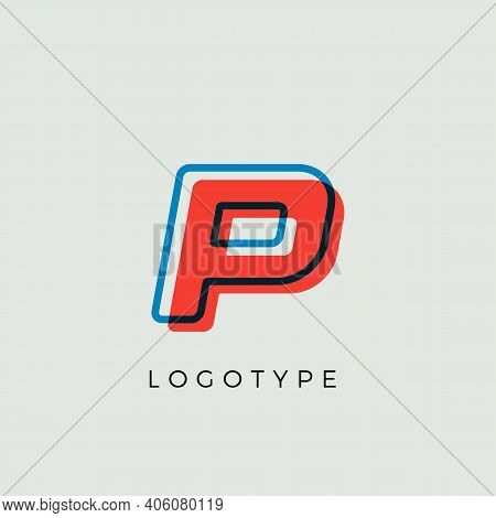 Stunning Letter P With 3d Color Contour, Minimalist Letter Graphic For Modern Comic Book Logo, Carto