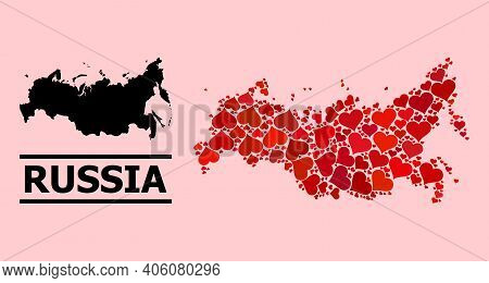 Love Mosaic And Solid Map Of Russia On A Pink Background. Mosaic Map Of Russia Created With Red Love