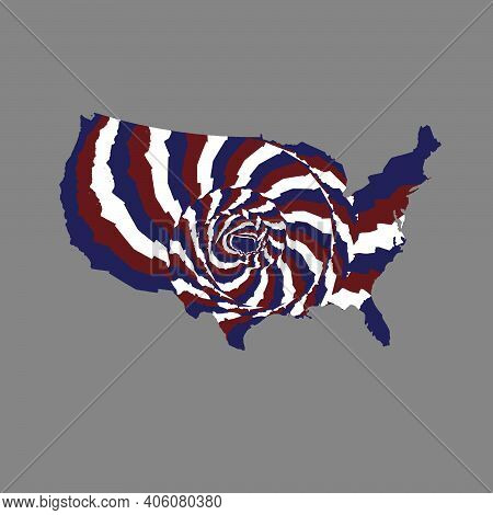 Abstract Style Illustration Of United States Of America Map With Lines In Red, Blue And White Colors