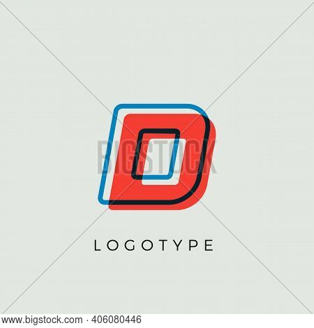 Stunning Letter D With 3d Color Contour, Minimalist Letter Graphic For Modern Comic Book Logo, Carto