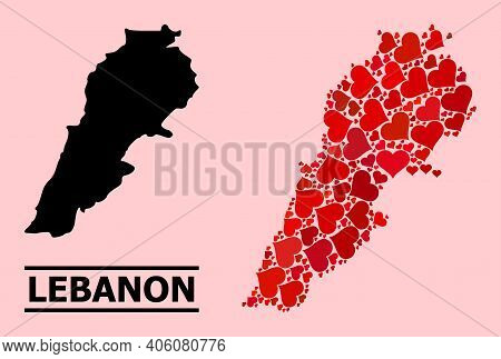 Love Mosaic And Solid Map Of Lebanon On A Pink Background. Collage Map Of Lebanon Is Composed With R