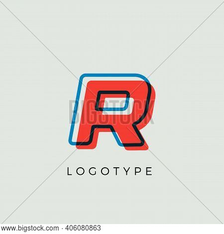 Stunning Letter R With 3d Color Contour, Minimalist Letter Graphic For Modern Comic Book Logo, Carto
