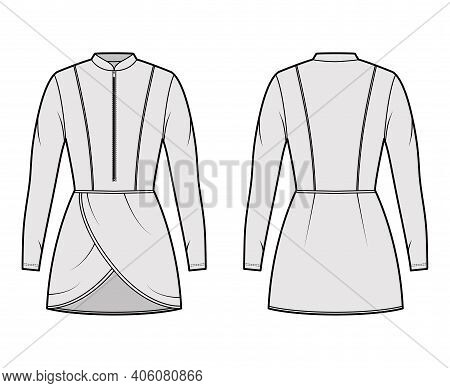Tunic Technical Fashion Illustration With Zip Henley Neck, Long Sleeves, Fitted Body, Petals Hem. Fl