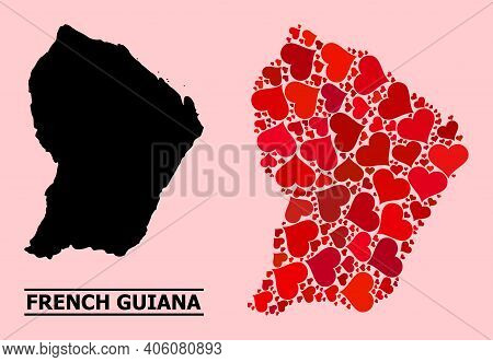 Love Mosaic And Solid Map Of French Guiana On A Pink Background. Mosaic Map Of French Guiana Designe